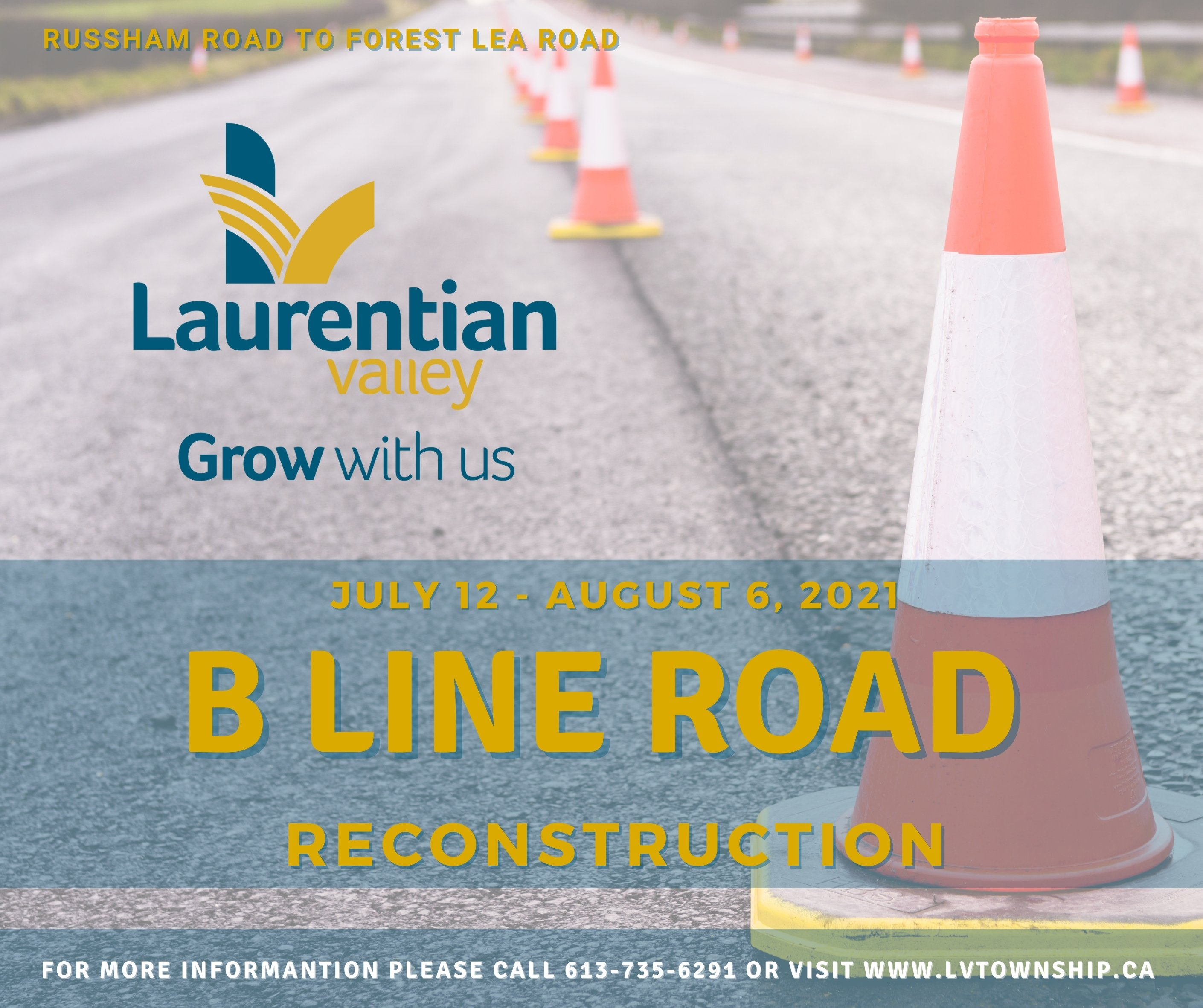 Graphic with information about road construction for B Line Road.