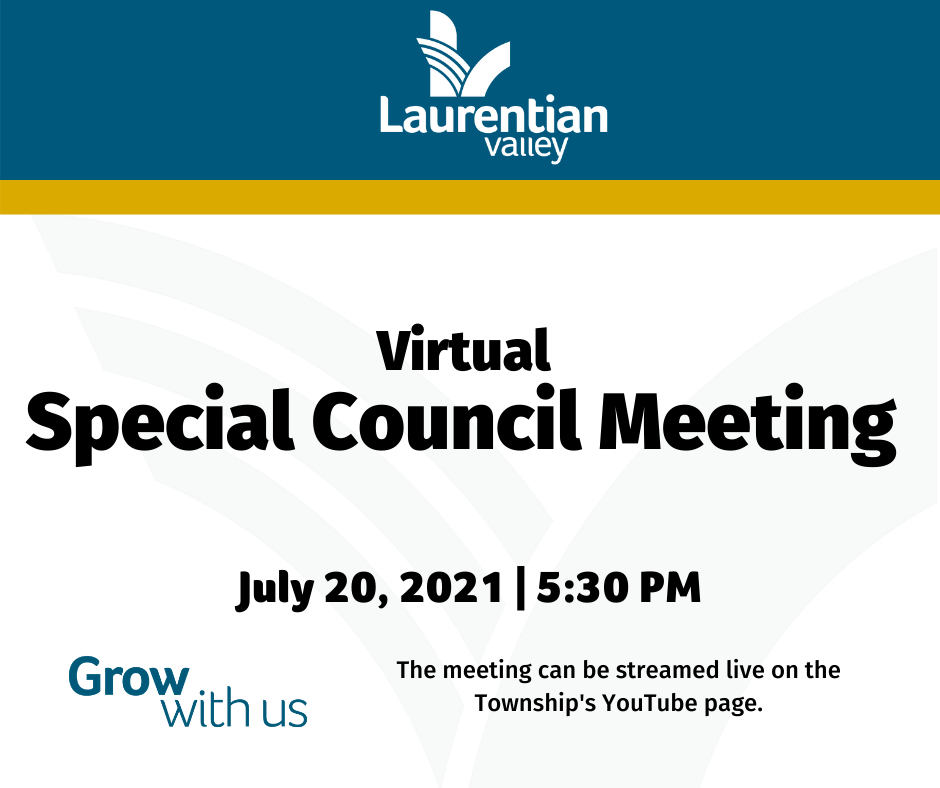 Graphic with information about the virtual Special Council Meeting.