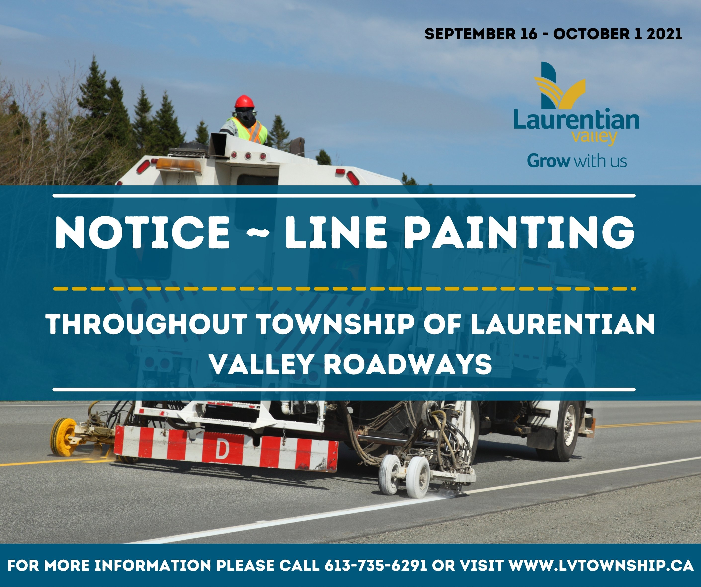 Graphic announcing line painting in LV from September 16 to October 1st.