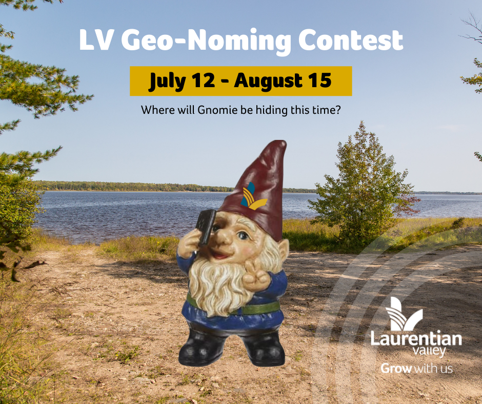 Graphic of Gnomie, the geo-gnoming gnome announcing the start of the contest.