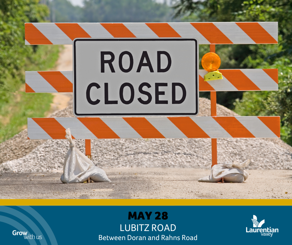 Graphic informing of Lubitz Road closure on May 28th.