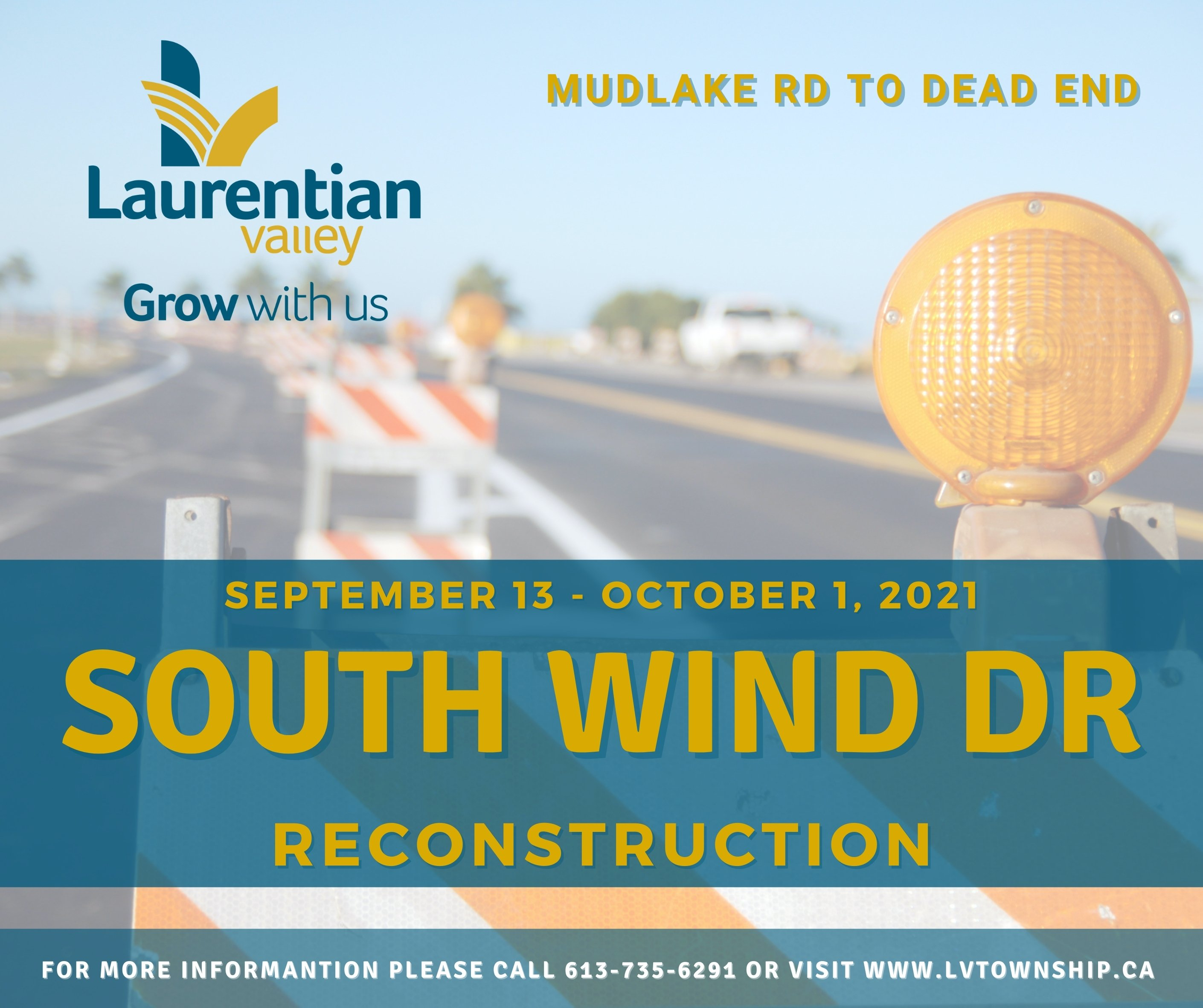 Graphic informing of South Wind Drive Reconstruction.