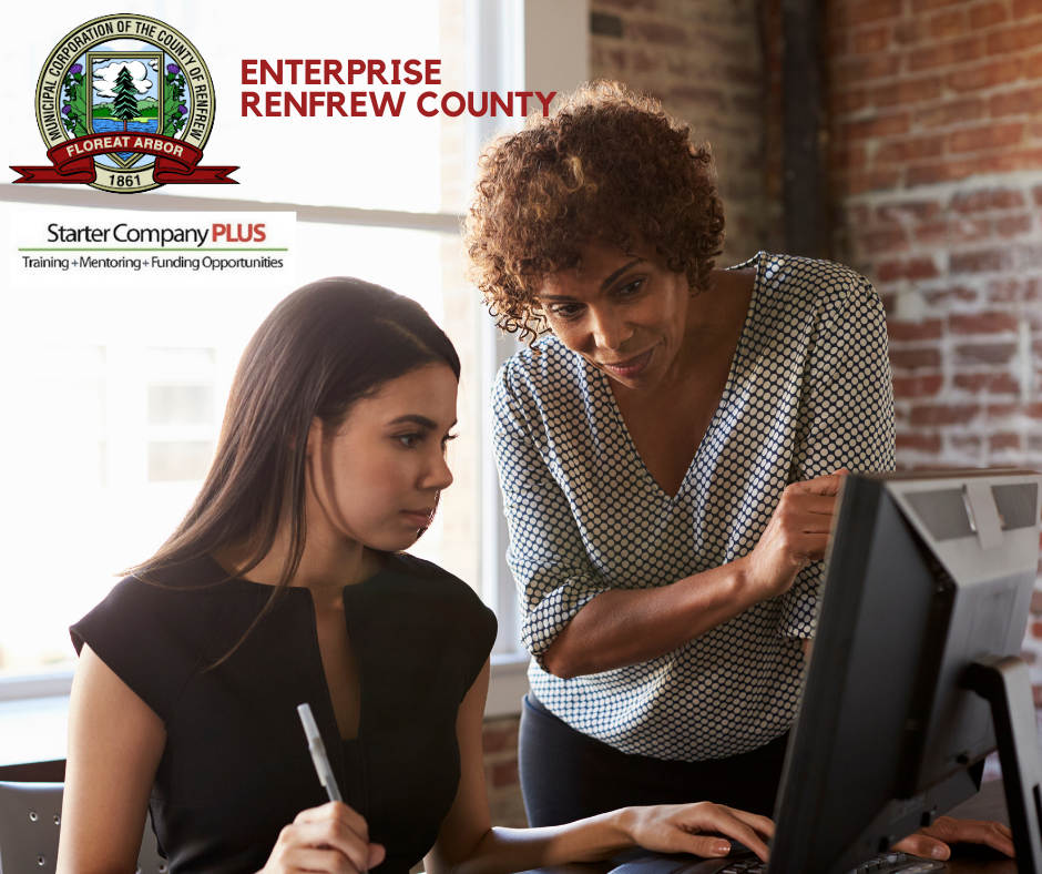 A person mentoring another person with the Enterprise Renfrew County logo.